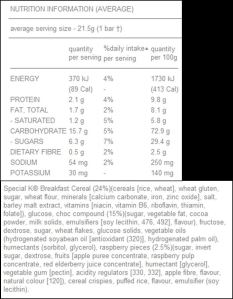 Special K Chocolate Cereal Bar - Nutritional Info
